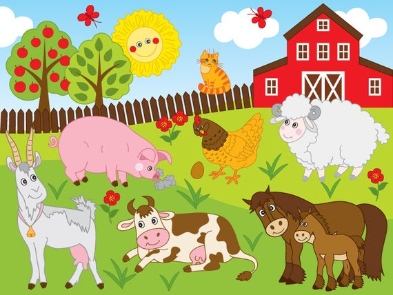 farm clipart vector farm clipart farm animals clipart rh etsy com clipart of farm animals black and white clipart pictures of farm animals